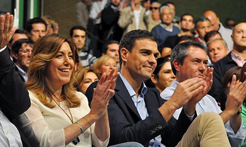 Susana Díaz y Pedro Sánchez en un acto Sevilla. // JAVIER ANDRÉS