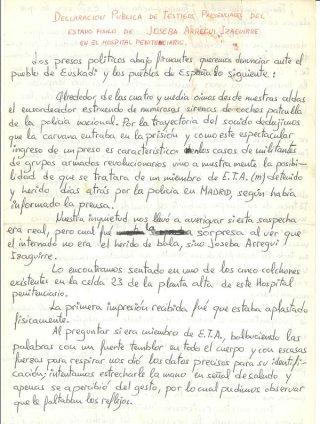 Fragmento de la carta redactada por compañeros de prisión de Josexo Arregi. / Euskal Memoria Fundazioa