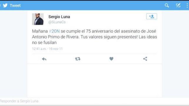 Pantallazo de la supuesta cuenta de Twitter del concejal de Ciudadanos en Soto del Real Sergio Luna.