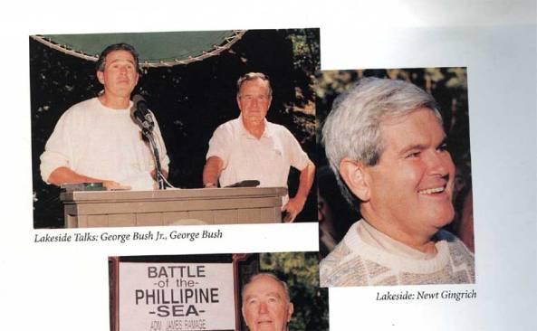La fotografía de Gingrich aparece en los Anales del Bohemian Club, Volumen 7, 1987-1996 junto a George W. Bush y su padre
