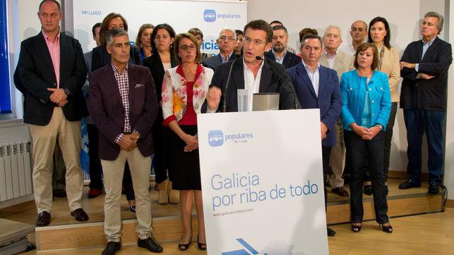 Acto de Feijóo con dirigentes del PP de Lugo en la campaña de 2012