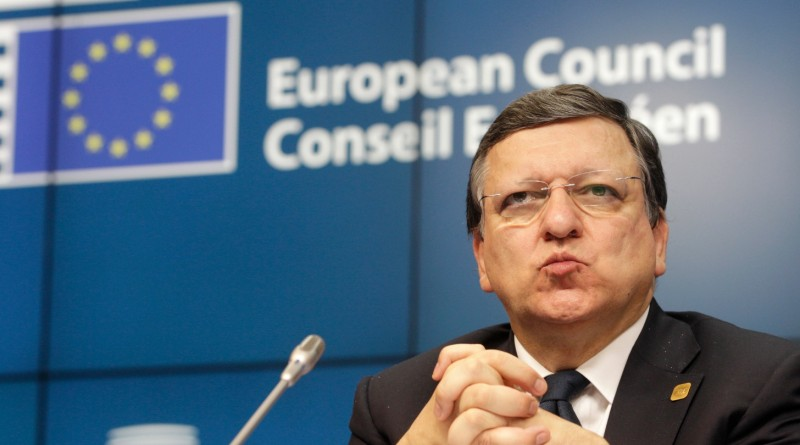 European Commission President Jose Manuel Barroso at the an EU summit at the European Council building in Brussels, early Thursday, July 17, 2014.