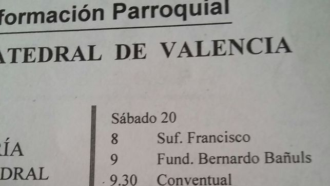 """Solo figura """"Francisco""""  en el anuncio de una misa por Franco el 20 de agosto en la catedral de Valencia."""